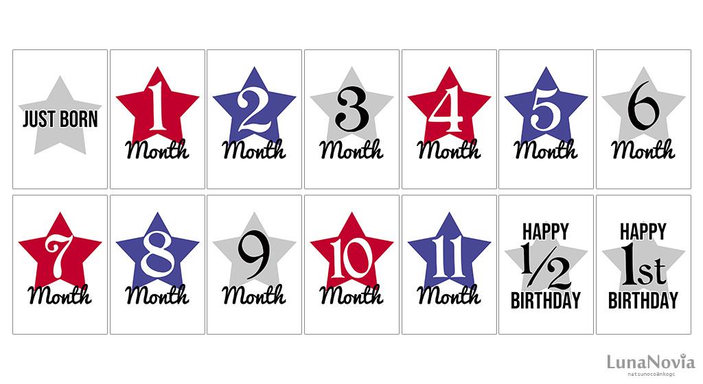 印刷するだけ!アメリカンな月齢カード