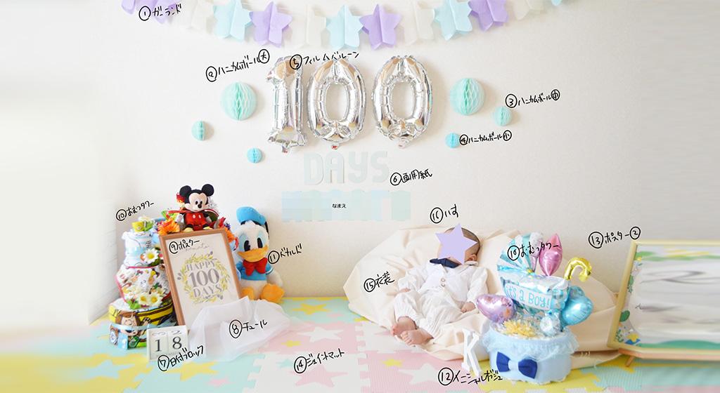 100日記念の写真をかわいくオシャレに撮影♪100均グッズでカンタンおうちフォト